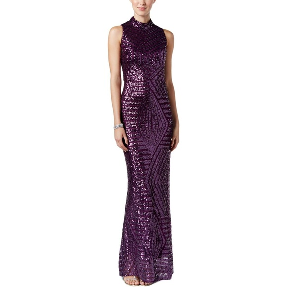 Vince Camuto Dresses | Purple Sequined Cutout Evening Dress | Poshmark